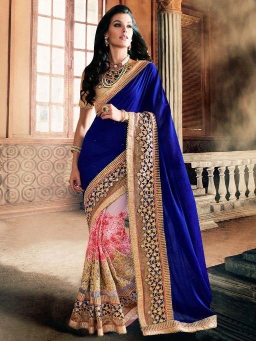 Blue and Pink Georgette Saree with Embroidery Work