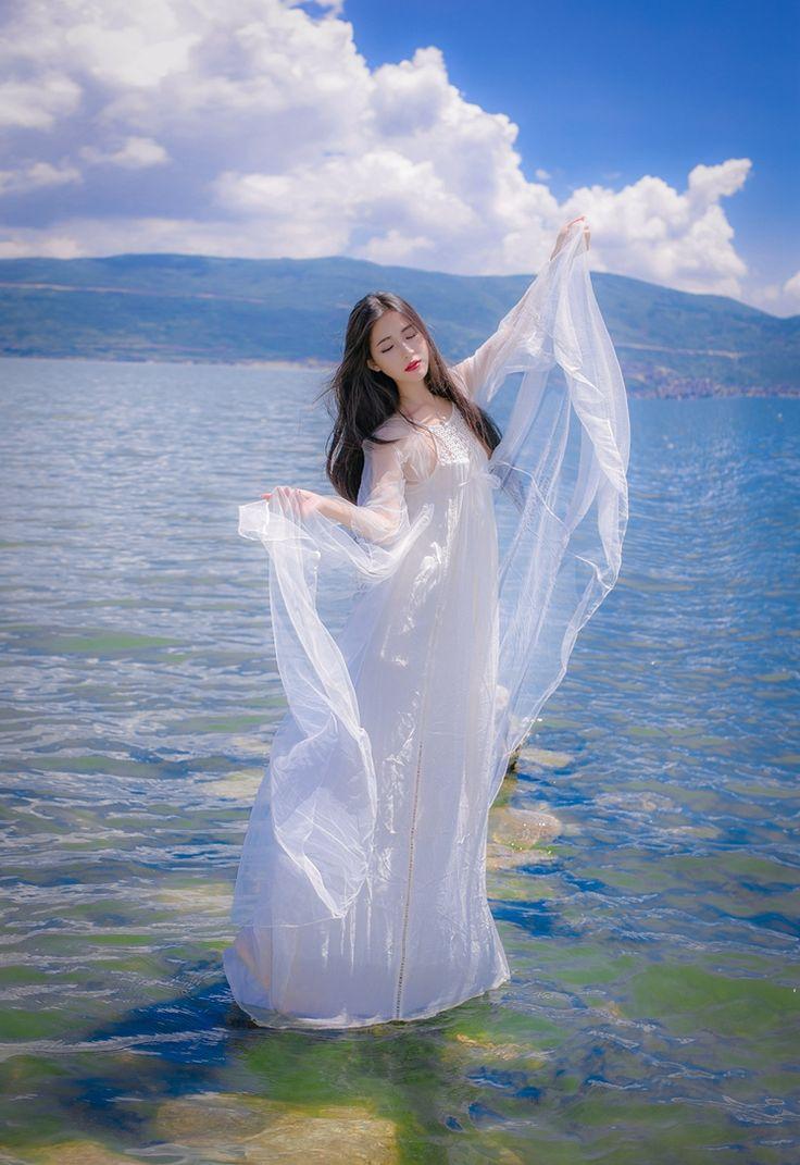 Sexemara/женские модные белые фея платье принцессы с длинными рукавами шифоновые платья Boho Стиль пляжное платье Self Portraitкупить в магазине SexeMaraFactory StoreнаAliExpress