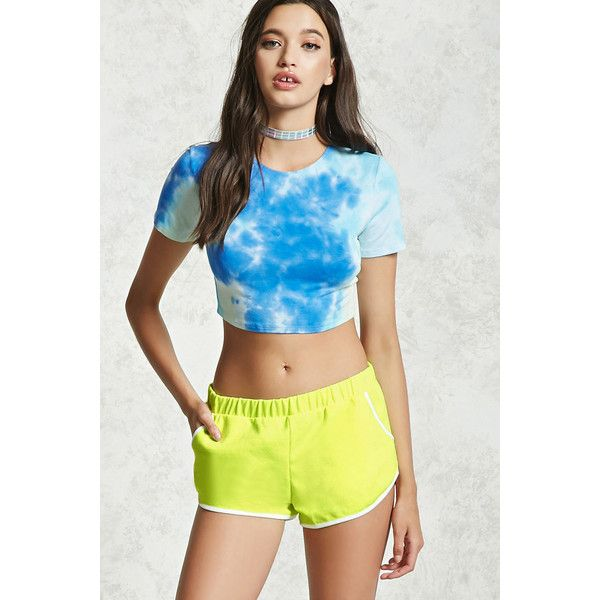Forever21 Pocket Dolphin Shorts ($11) ❤ liked on Polyvore featuring shorts, neon yellow, elastic shorts, neon yellow shorts, forever 21 shorts, dolphin hem shorts and dolphin shorts
