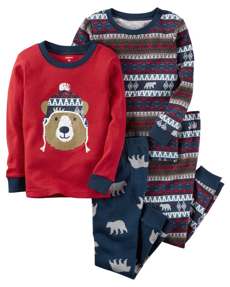 Baby Boy 4-Piece Snug Fit Cotton PJs from Carters.com. Shop clothing 24M &…