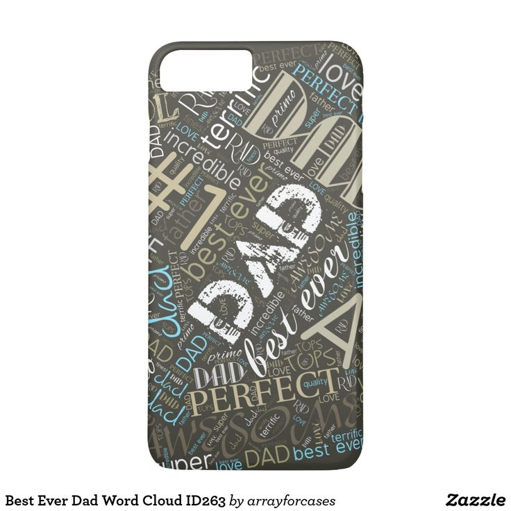 Best Ever Dad Word Cloud iPhone SE/5/5s Case Can't find enough good words to say about your dad? This cool word cloud pattern will say it all for you. Some of the words included in the design are: dad, #1, best ever, perfect, handsome, super, rad, cool, awesome and love. Tell him you care by creating something unique just for him! Choose any background color to suit your taste. Available on other size cases.