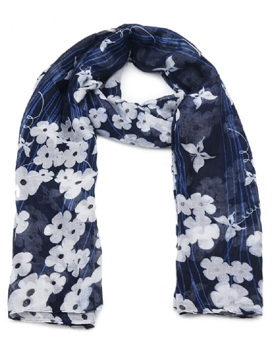 White flower and butterfly scarf