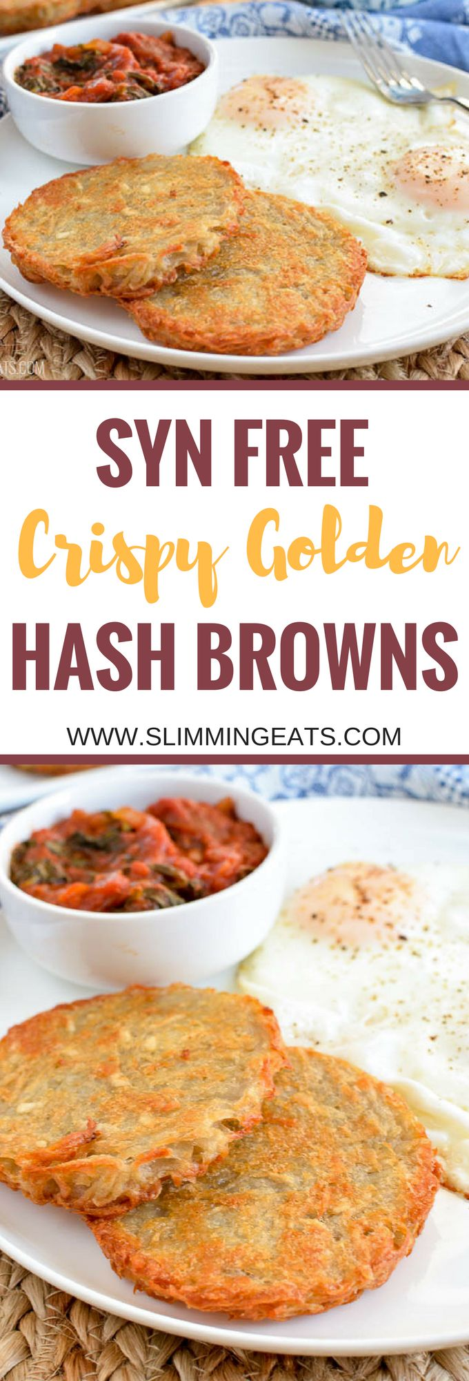 Slimming Eats Syn Free Crispy Golden Hash Browns. This gluten free, free vegetarian and paleo recipe is incredible!
