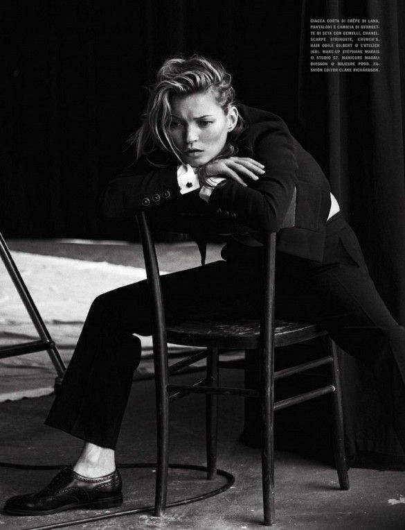 Kate Moss wears a sleek suit and oxfords, photographed by Peter Lindbergh for Vogue Italia