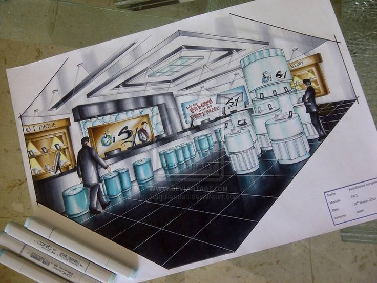2 pt Perspective. Copic marker Rendering !! 100% Manual Hand Drawing..