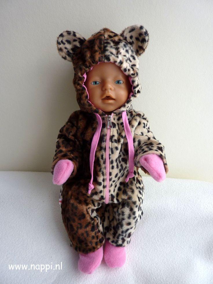 Winterkleding / Baby Born 43 cm | Nappi.nl Winterpak in luipaardprint incl. slofjes en wantjes met koord. Patroon pak: Christel Dekker