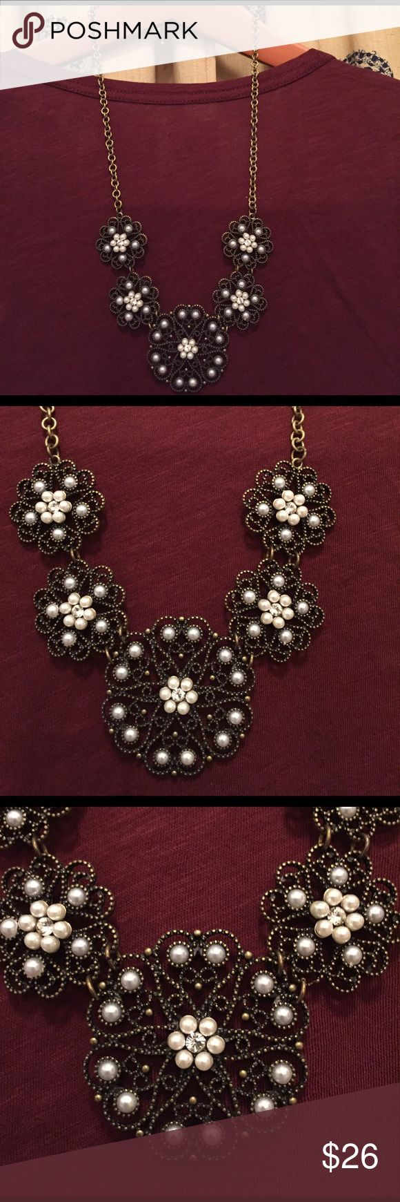 """Susan Graver Necklace Susan Graver Necklace - Brass tone necklace with white/light grey pearls and crystals. It measures 23"""" when laying flat but the necklace curves so measures Approx. 26"""" Excellent condition. Susan Graver Jewelry Necklaces"""