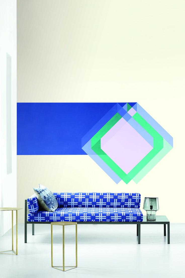 A bold stripe with a geometric shape makes a beautiful wall feature. Plascon Deep Sea Reef B7-B1-1. Plascon Colour Forecast 2017. Prism Palette