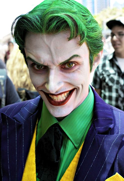 Amazing mens Halloween makeup for Batman's villain, the Joker.