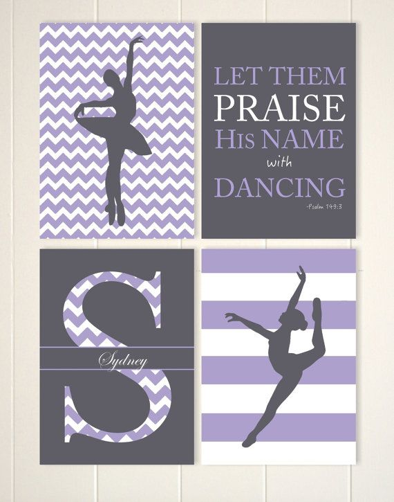 Ballerina dancer wall art, ballet wall art, dance girls room decor, monogramed art, inspirational girls art, gift for girl, set of 4 prints by PicabooArtStudio