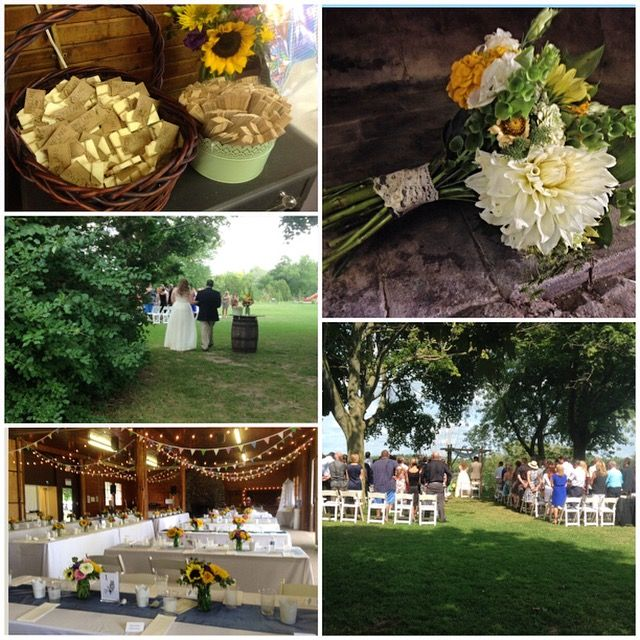 Fanshawe conservation area wedding - organic bride - rustic - country - soap favours - cafe lights - fabric bunting banners - sunflowers - outdoor ceremony - Day of management  by High Gloss Weddings - www.highglossweddings.com