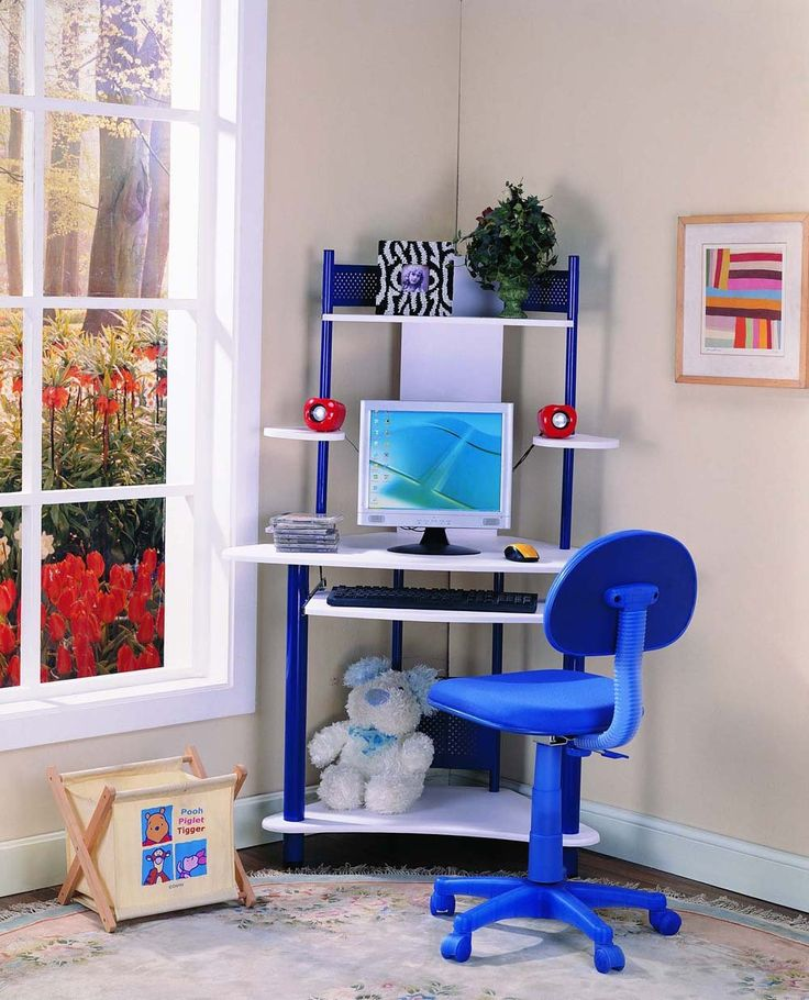 """Kings Brand Blue Finish Corner Workstation Kids Children's Computer Desk. Blue Finish Corner Workstation Kids Computer Desk. Pullout keyboard tray, 2 shelves to hold speaker, top shelf can be used to place printer or books, bottom can hold CPU. Metal tube. Dimensions: 39""""x24""""x65""""H. Chair is not included. Simple assembly required."""