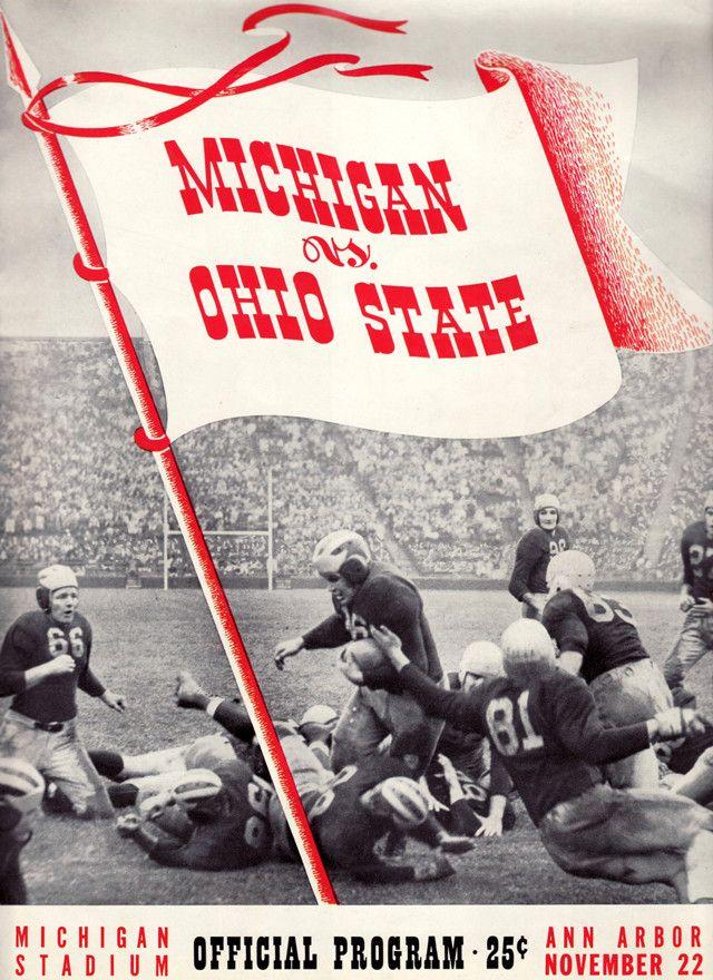 1941 Michigan Wolverines vs Ohio State Buckeyes 22 x 30 Canvas Historic Football Poster