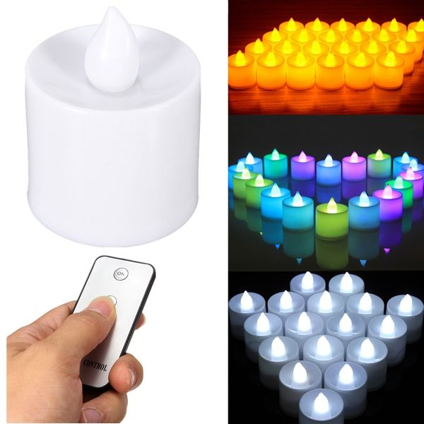 24pcs Flameless Battery Operated Led Candle Light With Remote Control For Wedding Party Recepciones
