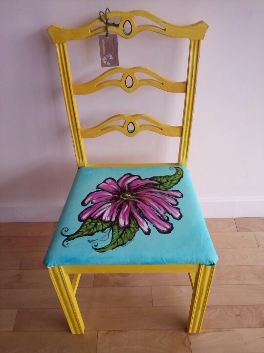 Upcycled,  canvas stretched & handpainted  artisan chair. By Susan Edwards