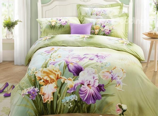 Lifelike Charming Iris #3D Print 4-Piece Cotton Duvet