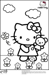 Hello Kitty In The Garden Coloring Pages