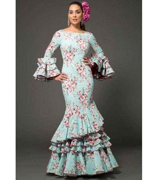 trajes de flamenca 2018 mujer - Aires de Feria - Vestido de sevillanas Estrella Floreado