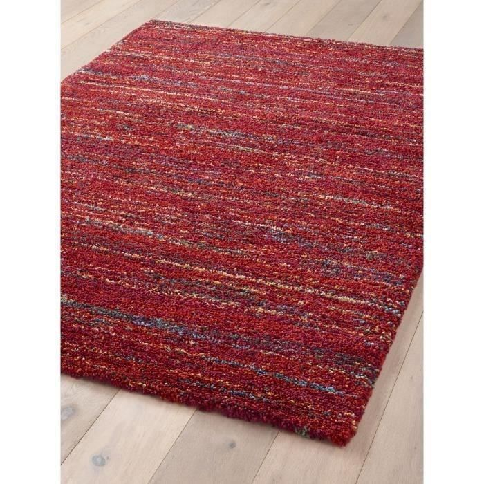 SHERPA COSY Tapis ethnique tissé en velours polypropylène HeatSet – 160×230 cm – Rouge et multicolore