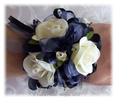 winter corsage with navy dress | was inspired by a starry night sky to create this stunning wrist ...no elastic...tie with ribbon for MOB
