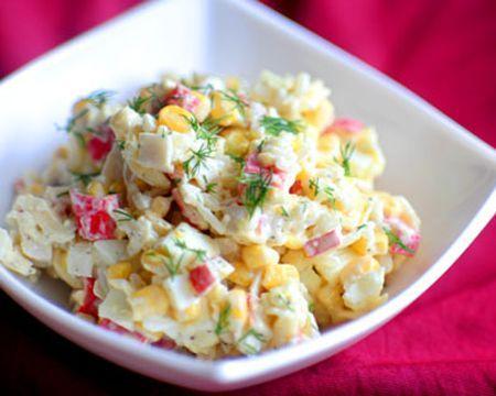 Рецепт салата с кукурузой и крабовыми палочками