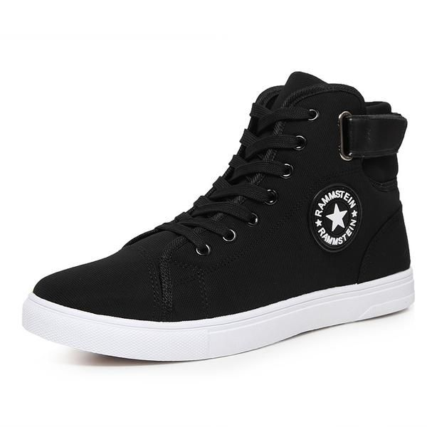 New 2017 High Quality Men Canvas Shoes  Fashion High top Men's Casual Shoes Breathable Canvas Man Lace up Brand Shoes Black