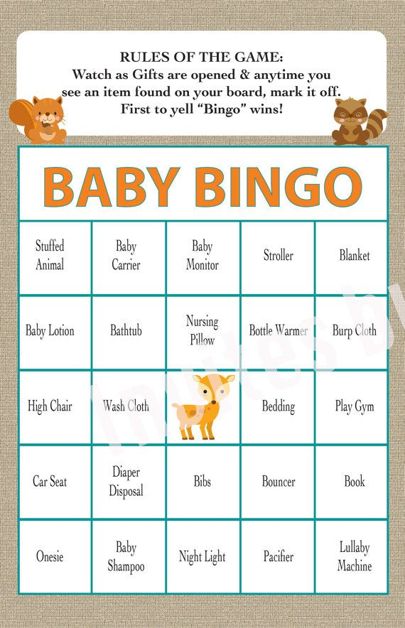 Baby Shower Oh Deer Animal Theme BINGO Game Boy or Girl INSTANT DOWNLOAD set of 40
