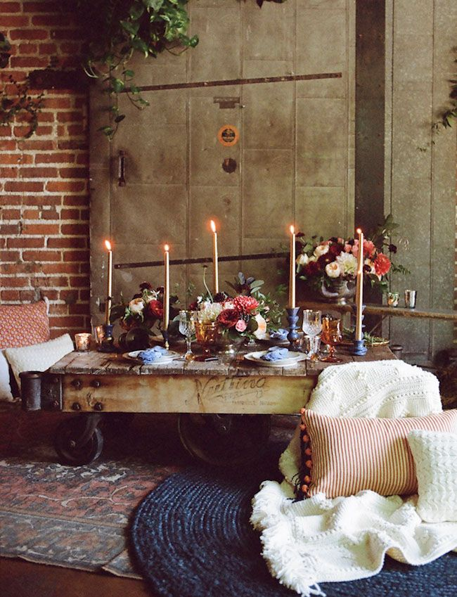 I adore this as table setting and table florals.  Love the colors of flowers and the candles. I think this would go really well with the house.