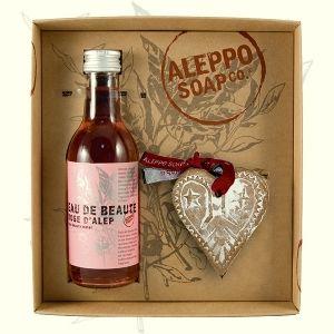 Kit de tónico de agua de rosas exquisito y un jabón artesanal de alepo y rosas.