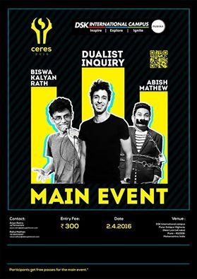 Our main event featuring artists Abish Mathew, Biswa Kalyan Rath and Dualist Inquiry. Come be a part of Ceres 2016   visit: dskic.in
