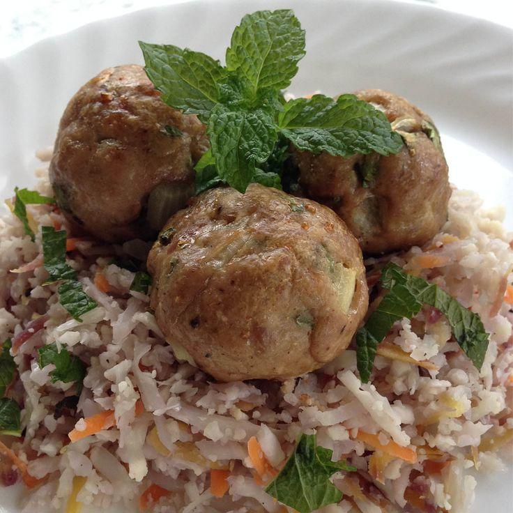 Asian Meatballs with Carrot-Mint Cauliflower Rice