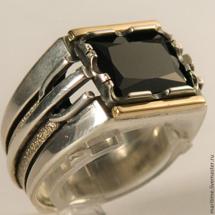 Купить Мужское кольцо со шпинелью Black - чёрно-белый, черная шпинель, кольцо с камнем