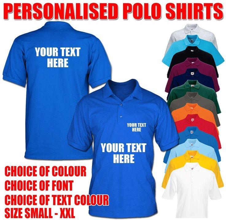 Men's Custom Printed Front & Back Personalised Uniform Work Wear Stag Do Birthday Polo Shirts: Amazon.co.uk: Clothing