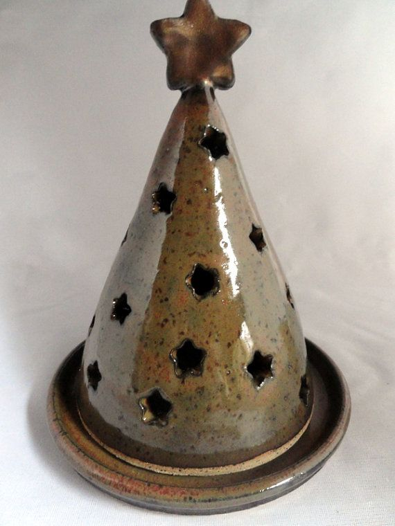 Stoneware Christmas Tree Luminary Candle by PotteryByPatricia, $30.00