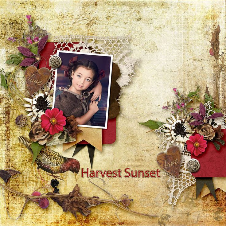 """Harvest Sunset"" by Fancy Bird design Coordinated Collection $1 each pack at https://www.digitalscrapbookingstudio.com/fancy-bird-design/ Onederful 1 by DAGIS TEMP-TATIONS http://store.gingerscraps.net/Onederful-1.html photo Irina Grishina use with permission"