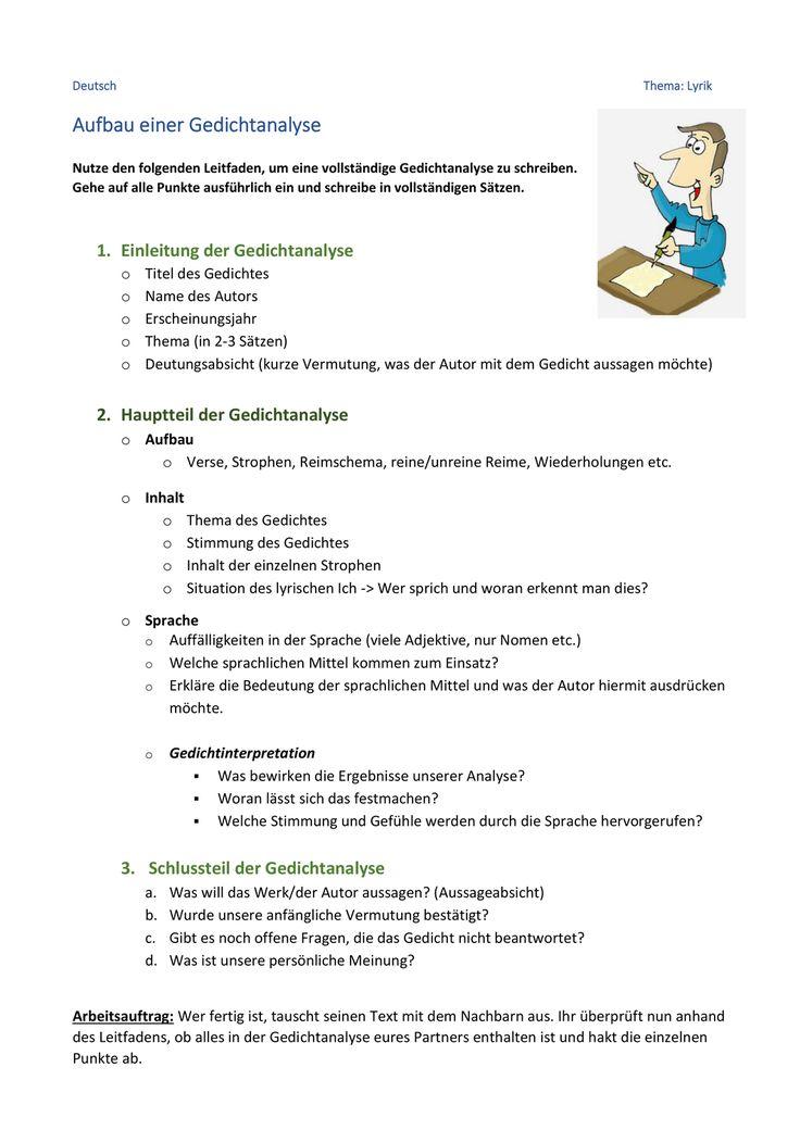 Leitfaden Fur Das Verfassen Einer Gedichtanalyse Klassenarbeit Und Bewertungsbogen Unterrichtsmaterial In Den Fachern Deutsch Fachubergreifendes In 2020 Gedicht Analyse Klassenarbeiten Leitfaden