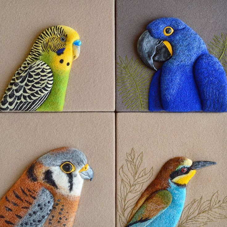 The incredible variety of the birds in this world always makes me wonder about the creativity of the Mother Nature. ~ A collection of my 3D needle felted, clay sculpted, painted, embroidered wall art piecies. Some of them still available at my Etsy shop (link in the profile). ~ Next week I'll be away from my workspace teaching needle felting workshops in the summer camp and trying out some new crafts too. I hope you all are having an interesting summer time!