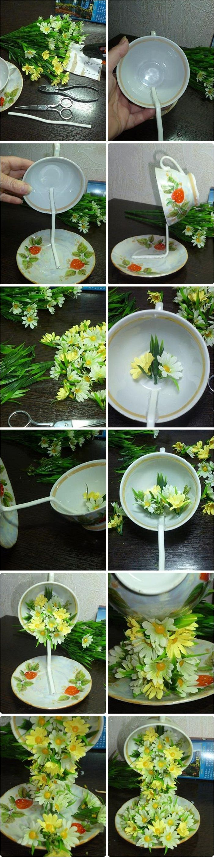 "Tea Cup Floral Cascade ~ step by step tutorial on how to create the illusion of flowers spilling into a saucer from a ""floating"" cup (and various suggested arrangements) at diy-enthusiasts:"