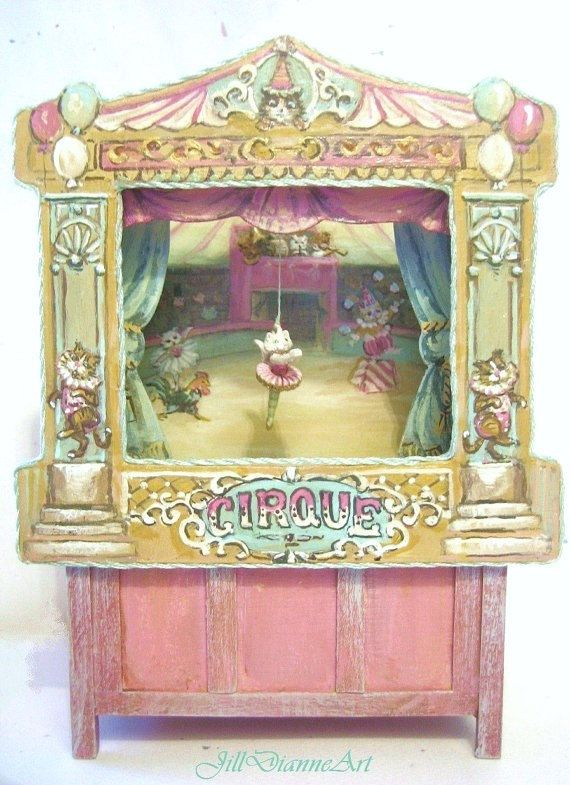 Victorian Cat and Chicken Circus Puppet Theatre - Dollhouse Miniature Art or Antique Doll Toy - by  Jill Dianne