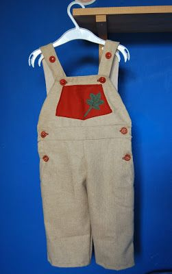 Kids overall with fabric applique and paint (front) (on sale also at motxoko at etsy.com)