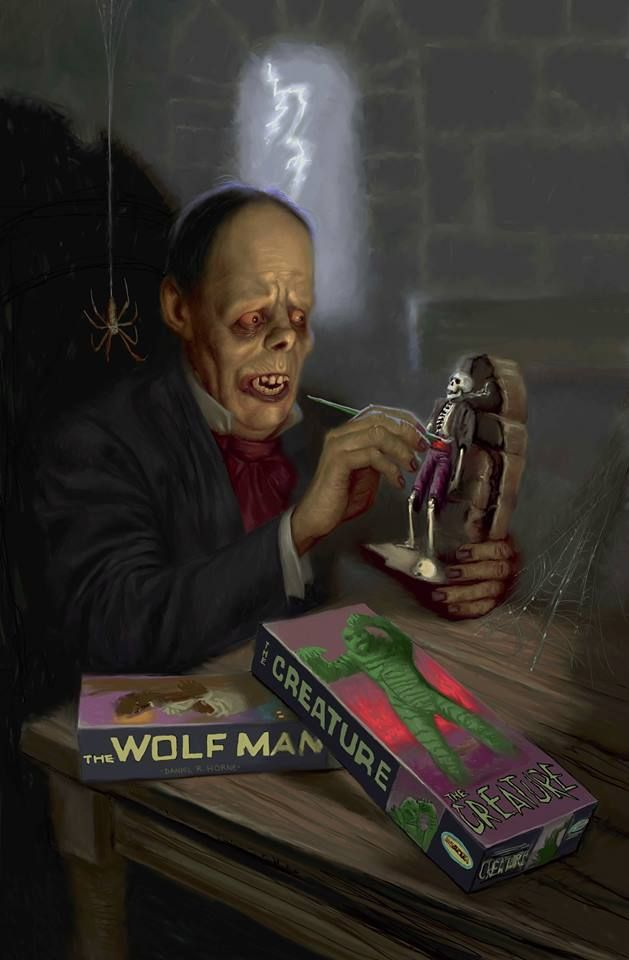 Phantom of the Opera - Lon Chaney - killing time with his monster model kits...