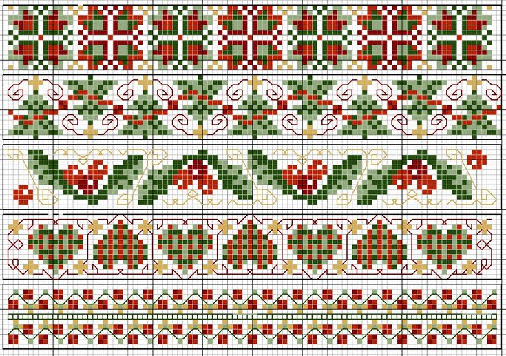 Christmas borders chart.  will make extremely cool bookmarks.  clear chart, but no floss numbers.  easy to figure out, though.