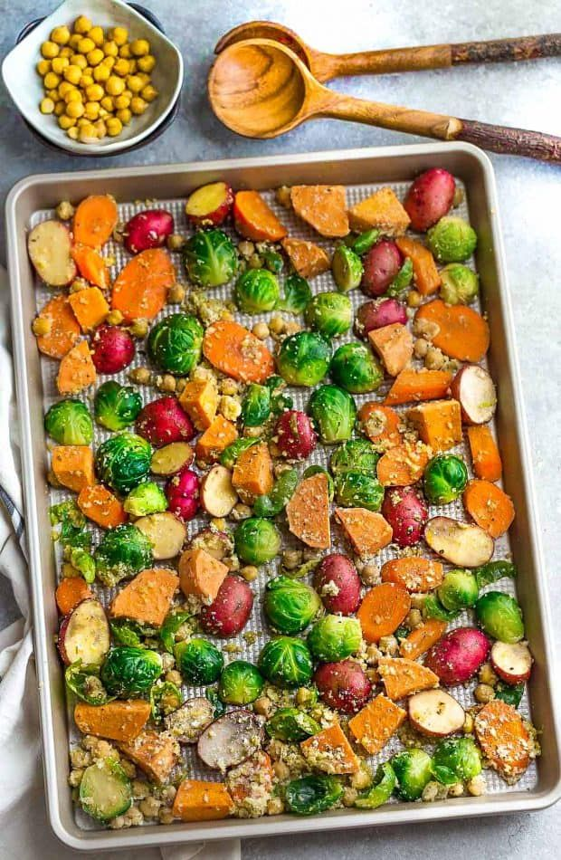 Roasted Harvest Vegetables - the perfect easy side dish for fall. Best of all, made on one sheet pan with autumn root vegetables, parmesan, garlic & panko!