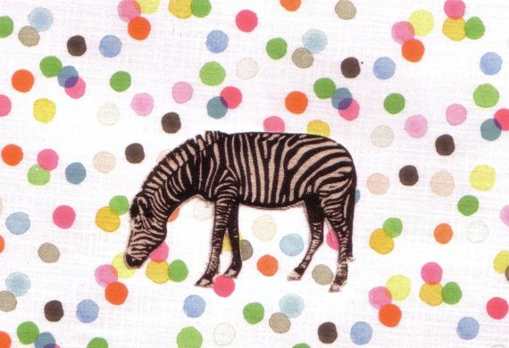 Zebra greeting card with confetti background by bluebearddesigns, $4.00