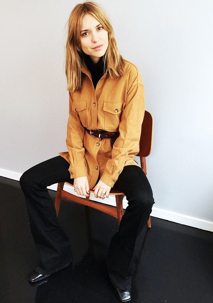 Pernille Teisbaek of Look De Pernille looks casually look in this belted double-pocket shirt