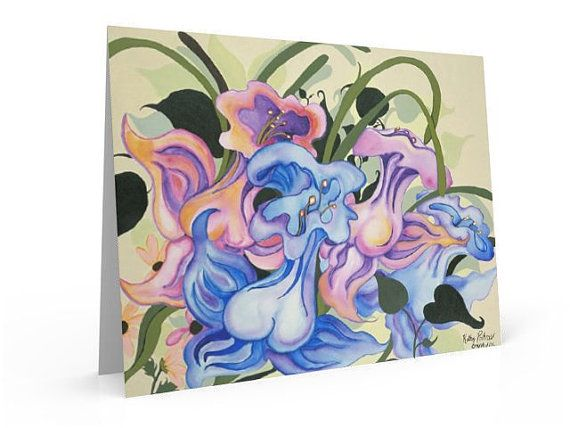 Expressionist fantasy flower painting  note by KathyPoitrasArt