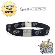 Game of Thrones Stark Wolf Arya Personalized Dog Collar. Black background with Sliver Game of Thrones Stark Wolf Arya logo Belgium ribbon. It is placed on heavyweight 1 nylon webbing with your choice of size. No more Jingle sound from the pet tag which attach on the collar. ************************************************************************* Why Happy Pet Collar? Happy Pet Collar is the combination of PERSONALIZED, DURABILITY and GORGEOUS. • PERSONALIZED - Engraved Pets important…