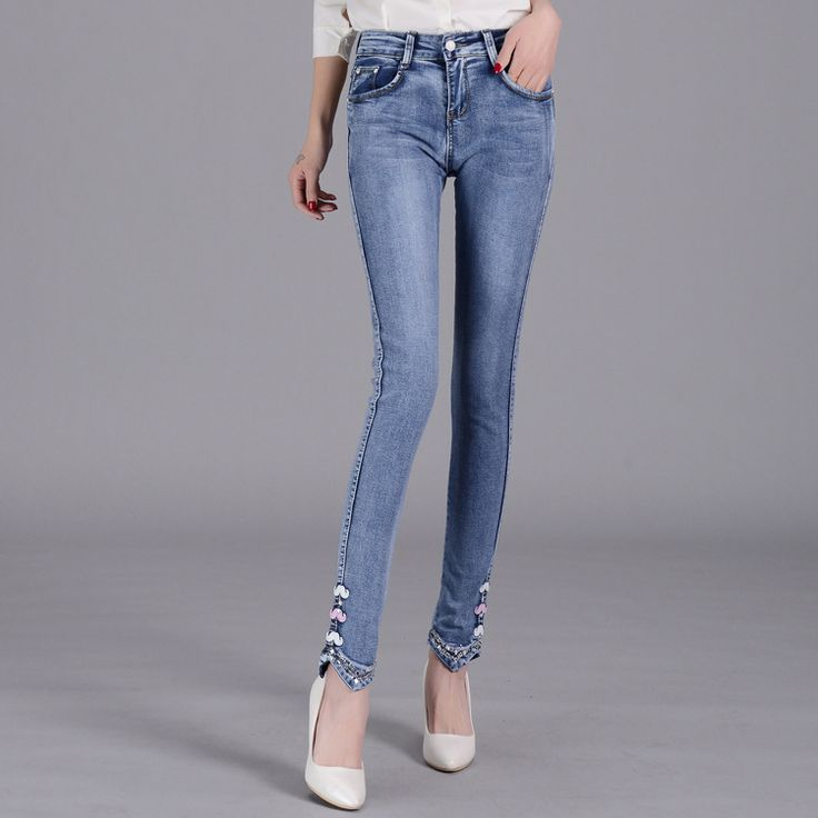 Jeans Woman Direct Selling Cotton Zipper Fly Mid Appliques 2016 New Summer Jeans Female Drilling Pencil Pants Slim Stretch