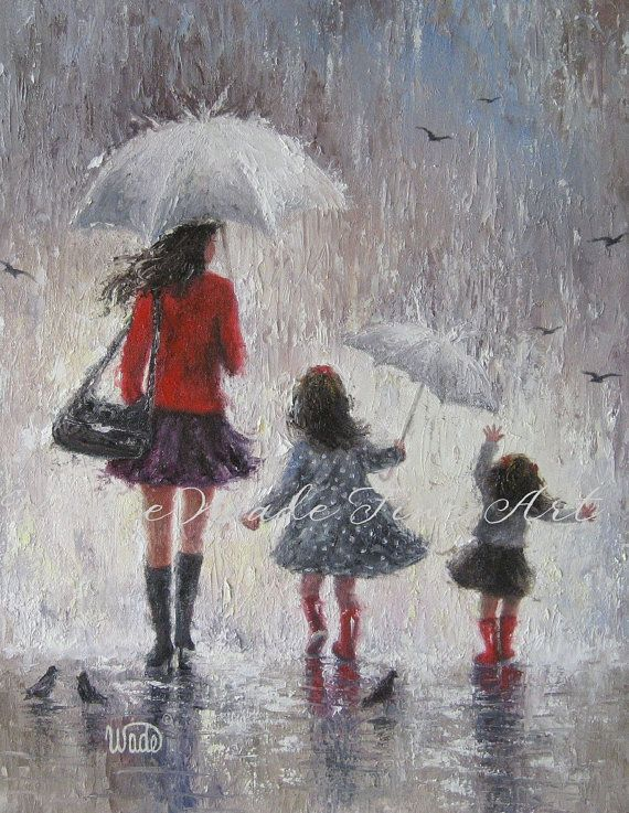 Mom and Two Daughters Art Print rain girls by VickieWadeFineArt