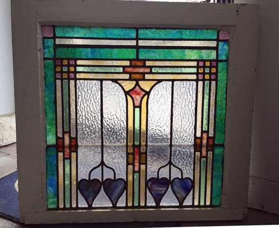 Antique Stained Glass Window by reclaimedhome on Etsy